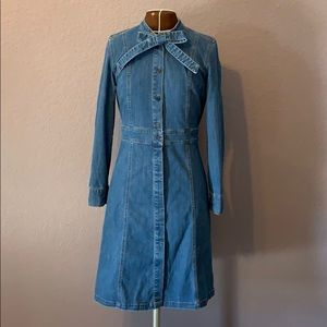 Madewell Button Down Tie Neck Denim Shirt Dress